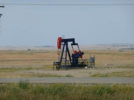 An oil well along the highway in western Saskatchewan.