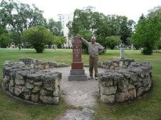 Dad at Louis Riel's grave in St. Boniface, a part of Winnipeg.