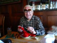 Dad waiting for his real lobster, putting the stuffed on at risk.