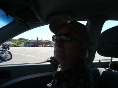 Dad as we wait at customs in Yarmouth, NS.