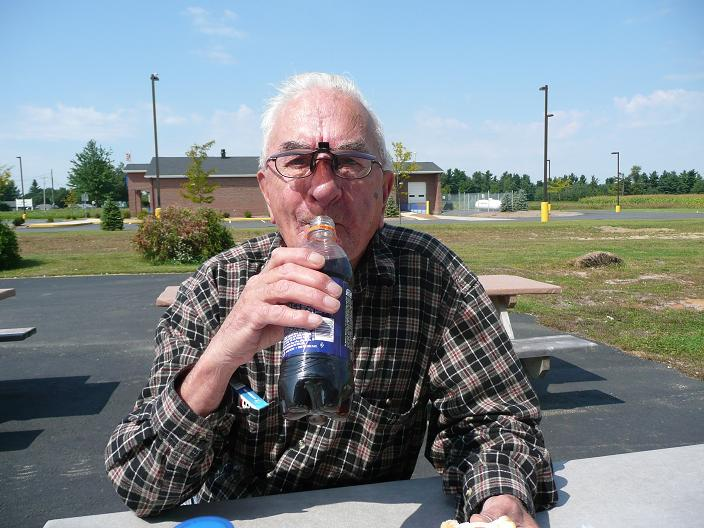 Dad sipping a cool beverage in New York State