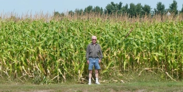 A corn field in upstate New York. Dad was amazed at how tall the corn was.