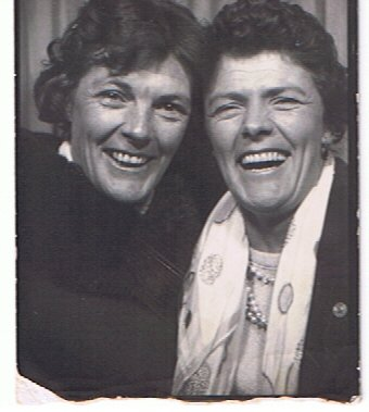 Mom and one of her sisters (Aunt Vi, we think).